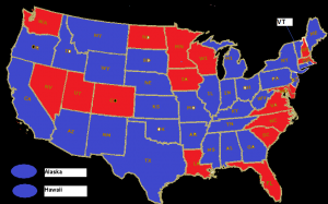 2012 vs 2008 overall results by state (Red = increased turnout, Blue = decreased turnout)