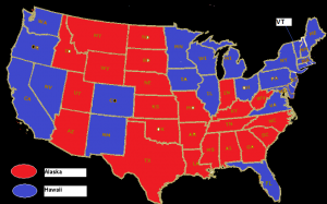 2012 Presidential results by state (Red = Romney, Blue = Obama)