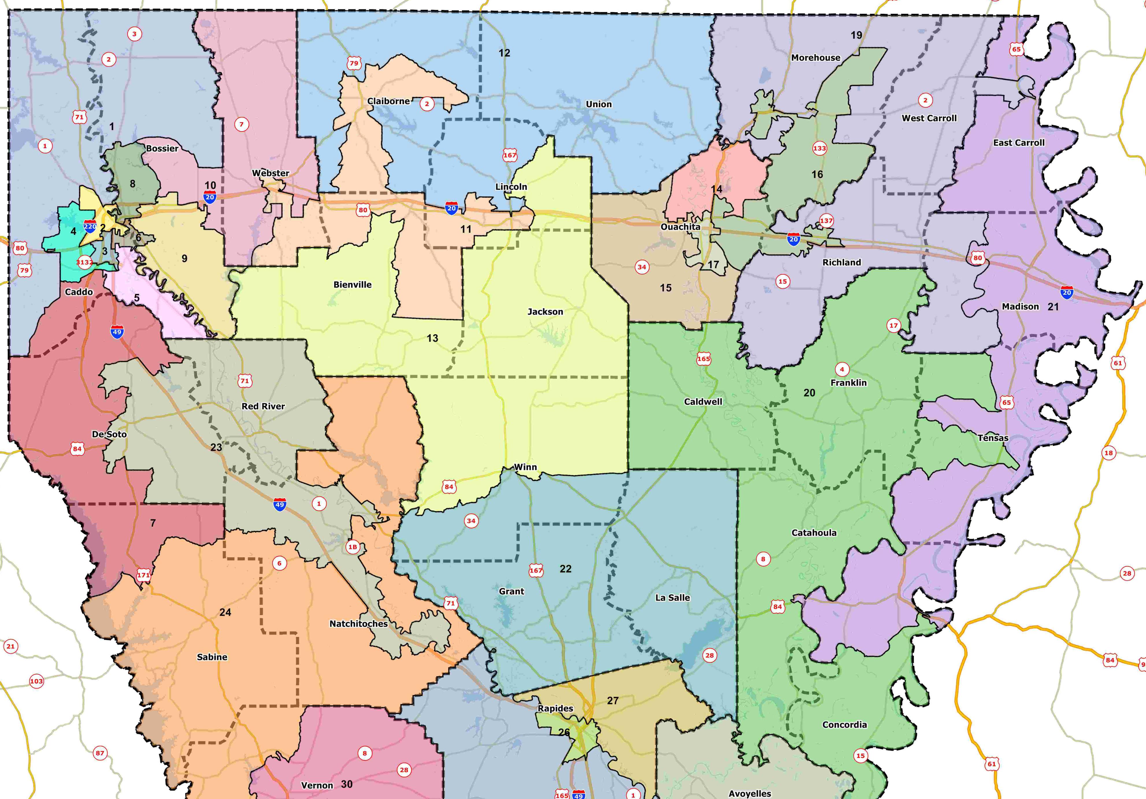Fantasy Redistricting Part IV B Louisiana House Of - Map of north louisiana