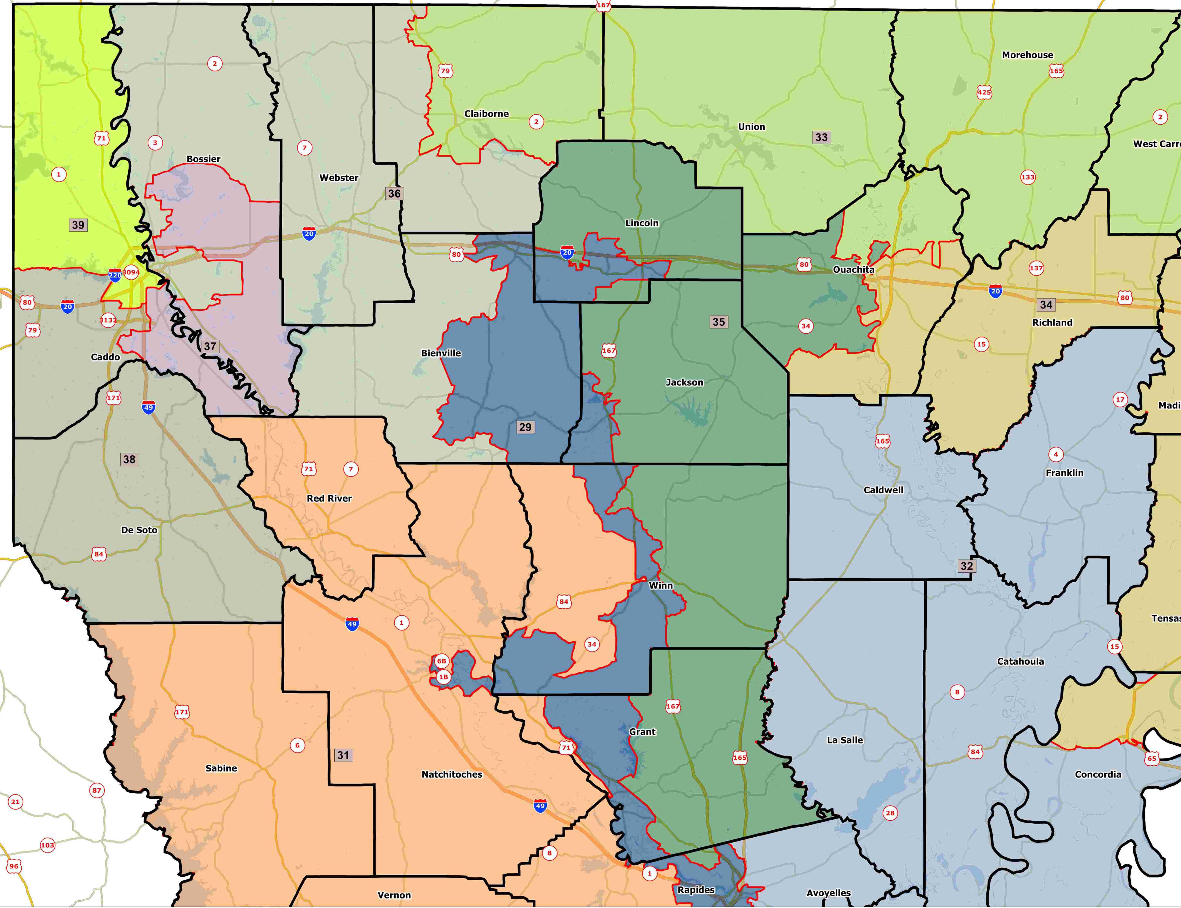 Fantasy Redistricting Part V Louisiana Senate JMC - Map of north louisiana