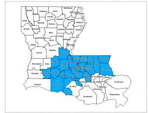 Parishes included in disaster declaration