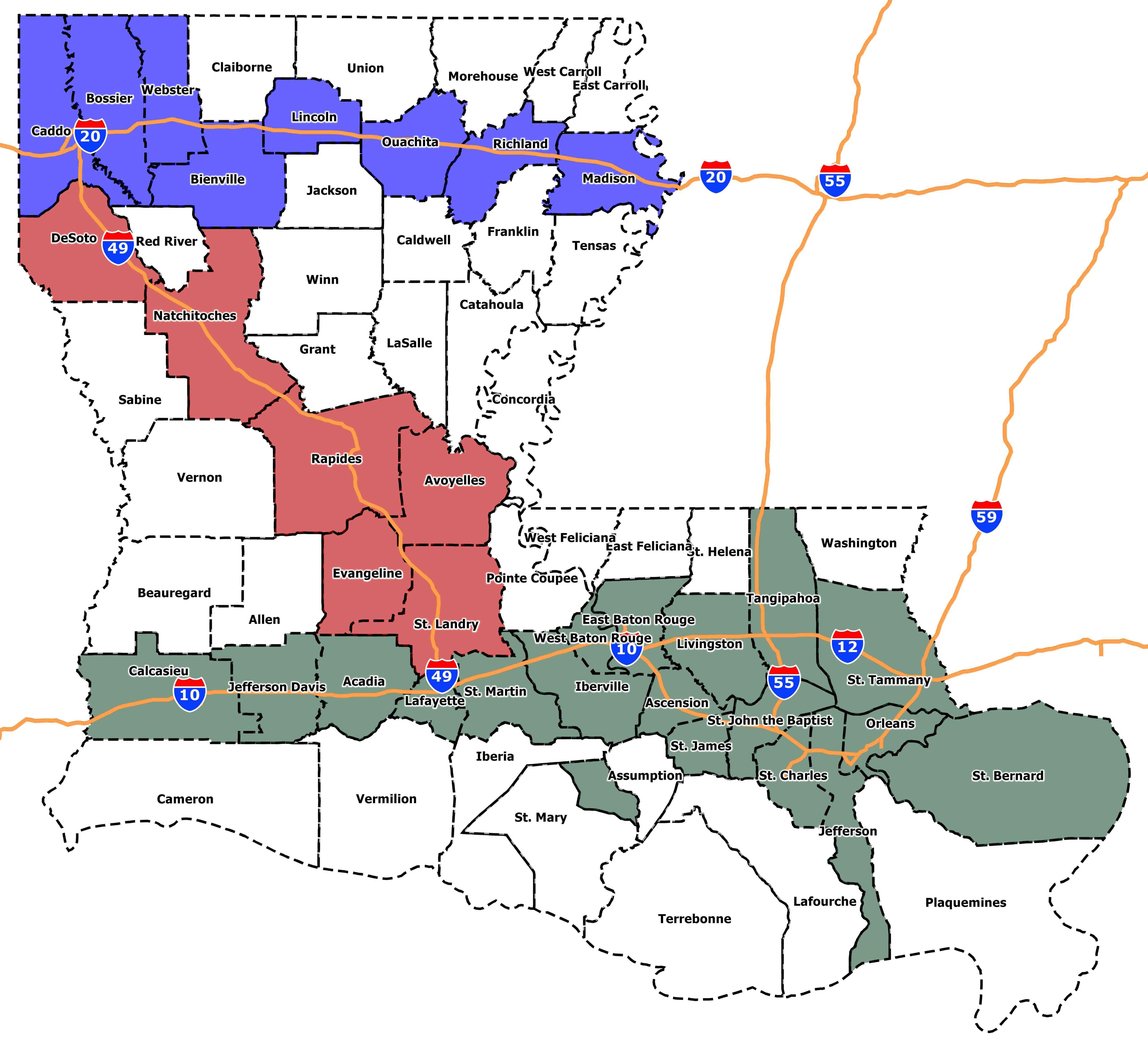 I 20 Louisiana Map.2017 Louisiana Census Estimates By Parish Jmc Enterprises Of